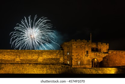 CARLISLE, ENGLAND - OCTOBER 31:  Carlisle Castle in Cumbria, northern England on October 31, 2015.  The 12th century castle is pictured during a firework display to celebrate Guy Fawkes night.