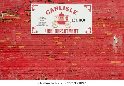 Carlisle, Kentucky / United States - June 19, 2018:  The Carlisle Fire Department was founded in 1830 and provides fire protection and rescue services for the City of Carlisle, Kentucky.
