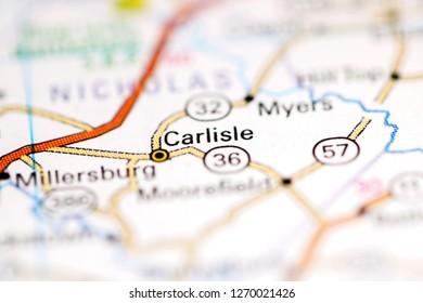 Carlisle. Kentucky. USA on a geography map