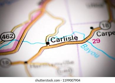Carlisle. Mississippi. USA on a map