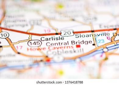 Carlisle. New York. USA on a geography map