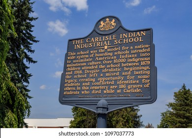 Carlisle, PA, USA - June 26, 2016: The Historic Marker at the gravesite of Native Americans that attended the Carlisle Indian Industrial School.