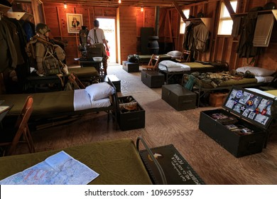 Carlisle, PA, USA - May 20, 2018: WWII Army barracks were recreated and equipment was on display at the Army Heritage Days event at the U.S. Army Heritage and Education Center.