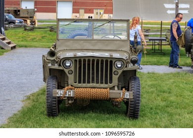 Carlisle, PA, USA - May 20, 2018: WWII Army Jeep was on display at the Army Heritage Days event at the U.S. Army Heritage and Education Center.