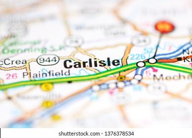Carlisle. Pennsylvania. USA on a geography map