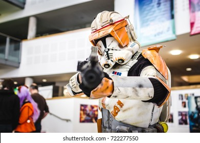 Carlisle, UK - August 19, 2017: Cosplayer dressed as a stormtrooper from Star Wars at Megacon convention in Carlisle.
