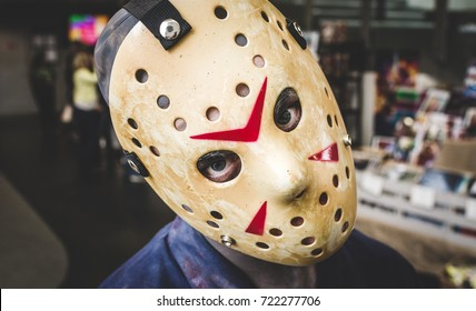 Carlisle, UK - August 19, 2017: Headshot of cosplayer dressed as Jason from the horror film 'Friday 13th' at Megacon convention in Carlisle.