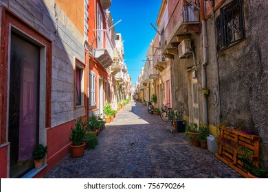 Carloforte, Sardinia, Italy - 11/11/2017; View of beautiful Carloforte (Sardinia, Italy) narrow street. View of narrow street typical of Italian villages