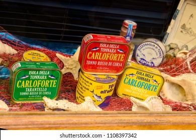Carloforte, Sardinia, Italy - May 08, 2014: Typical canned tuna products on the island of San Pietro in Sardinia, Italy.