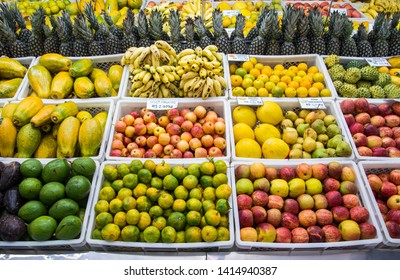 Carlos Barbosa/Rio Grande do Sul/Brasil - May 15, 2019: Fruits exposed on the market for sale. Fruit bowls on the market. Healthy life.