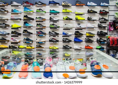 Carlos Barbosa/Rio Grande do Sul/Brasil - May 15, 2019: Products for sale in interior of fitness products store.