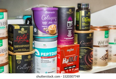 Carlos Barbosa/Rio Grande do Sul/Brasil - September 12, 2019: Fitness and beauty products for sale on store shelves.