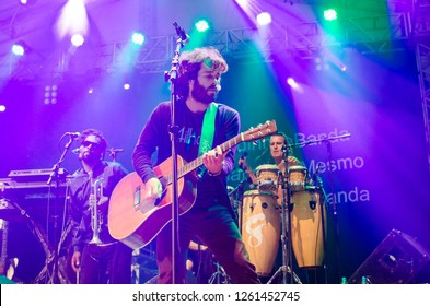 Carlos Barbosa/Rio Grande do Sul/Brazil - September 12, 2018: Show of the musician Armandinho during the Expo Carlos Barbosa fair. Armandinho and band doing show on stage, attracting large audience.
