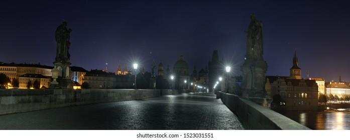 Carls Bridge Night Panorama Prague