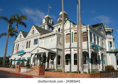 """CARLSBAD, CA - 26 JANUARY: """"Twin Inns"""" built in 1887 in Queen Anne architectural style. Former mansion of Gerhard Schutte, co-founder of Carlsbad. A restaurant as of 26 January 2009."""