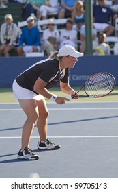 CARLSBAD, CA - AUGUST 08: Lisa Raymond plays in the doubles final at the Mercury Insurance Open at La Costa Resort and Spa in Carlsbad, CA, on August 8, 2010.
