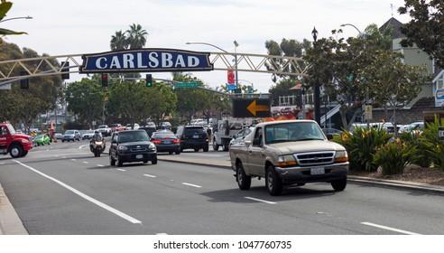 CARLSBAD , CA - NOVEMBER15 : In autumn day on the Streets of Carlsbad city,California,America on November 15,2016.