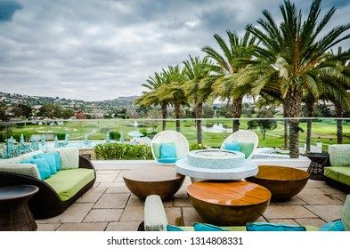 Carlsbad, CA / USA - 11-09-2014: Outdoor lounge at luxury resort in Carlsbad, California.
