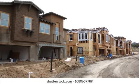 Carlsbad, CA / USA - April 30, 2018: New home construction