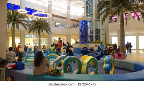 Carlsbad, CA / USA - December 30, 2018: a play area inside the newly renovated Carlsbad mall keeps young children occupied while parents shop
