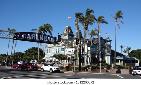 Carlsbad, CA / USA - February 11, 2019: The intersection of Highway 101 and Carlsbad Village Drive is the heart of the town
