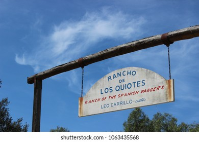 Carlsbad, CA / USA - March 6, 2018: The sign at the entrance to Leo Carillo Park against a blue sky with clouds