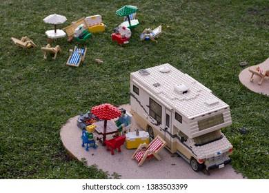 Carlsbad, California - Dec 28, 2018: LEGO campground in LEGOLAND.