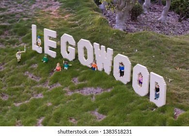Carlsbad, California - Dec 28, 2018: The LEGOWOOD sign with miniature LEGO characters in LEGOLAND.