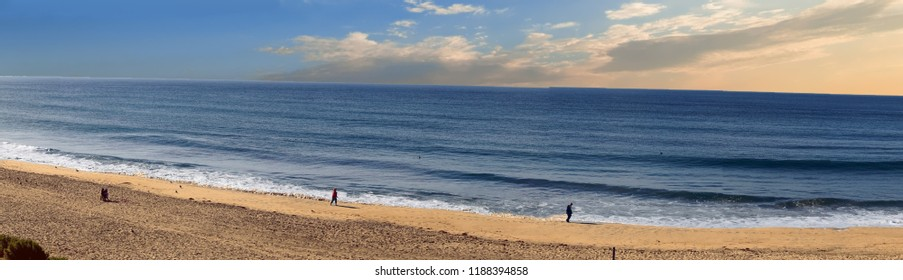 CARLSBAD, CALIFORNIA - DEC 4, 2017 -Panorama of beach at  Carlsbad, California