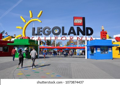 Carlsbad, California - January 13, 2018:  Tourists visit Legoland California in a sunny day.