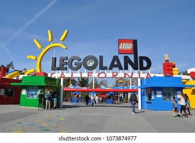 Carlsbad, California - January 13, 2018:  Beautiful entrance of Legoland California in a sunny day.