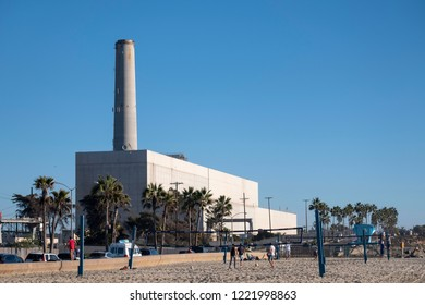 Carlsbad, California / USA 11-04-2018 Encina Power Station constructed in 1954 is one of the major suppliers of electricity for the region as well as one of the region's oldest.