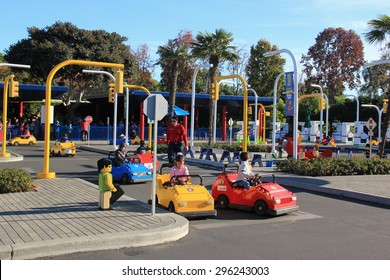 Carlsbad, California, USA - December 27, 2014: Promoting safe driving and skills, Volvo Driving School at Legoland California give children driving experience with Lego cars on a closed circuit.