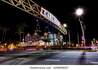 Carlsbad, California/ USA- February 26th 2018: Night time in the Carlsbad Village.