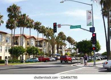 CARLSBAD, CALIFORNIA-MAY 30, 2017: Carlsbad street shot in downtown Carlsbad