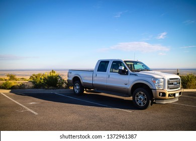 Carlsbad Cavern National Park, NM, USA - April 22, 2018: The F350 Ford parked along the preserve park