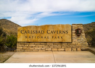 Carlsbad Cavern National Park, NM, USA - April 22, 2018: A welcoming signboard at the entry point of preserve park