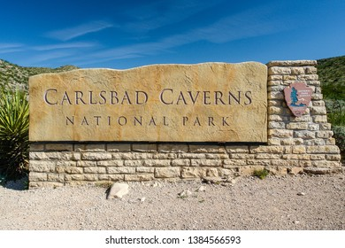 Carlsbad Caverns National Park, New Mexico, United States - May 24, 2007: Entrance Sign in Carlsbad Caverns National Park
