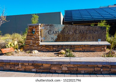Carlsbad Caverns National Park, New Mexico, United States - July 24, 2015: Entrance Sign in Carlsbad Caverns National Park