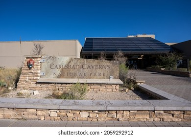 Carlsbad, New Mexico - Oct. 13, 2021: Sign in front of the Visitor Center at Carlsbad Caverns National Park. Since 1924, the park has had over 44 million visitors.