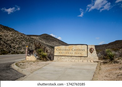 Carlsbad, New Mexico, USA - February 23, 2020: Welcome sign at the entrance to Carlsbad Caverns National Park in southern New Mexico.