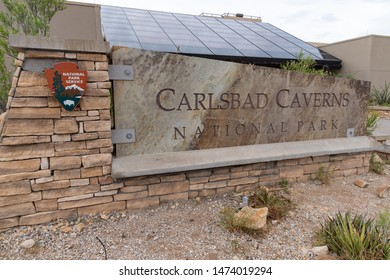 Carlsbad, NM / USA - July 11, 2019: Sign for Carlsbad Caverns National Park in New Mexico