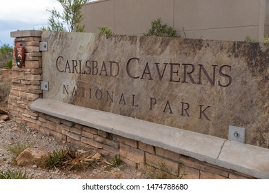 Carlsbad, NM/ USA - July 11, 2019: Sign for Carlsbad Caverns National Park in New Mexico