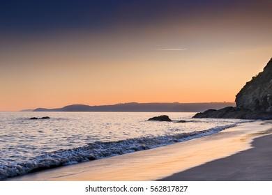Carlyon Bay, Cornwall, UK at dusk