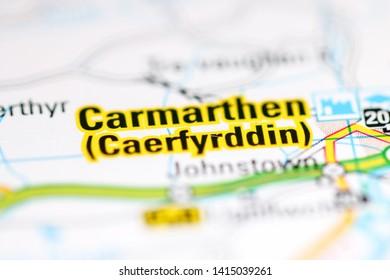 Carmarthen. United Kingdom on a geography map
