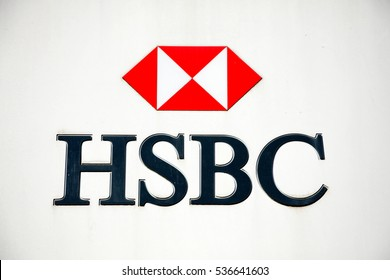Carmarthen, Wales, UK, October 22, 2016 :  HSBC bank advertising sign outside their retail branch in Lammas Street