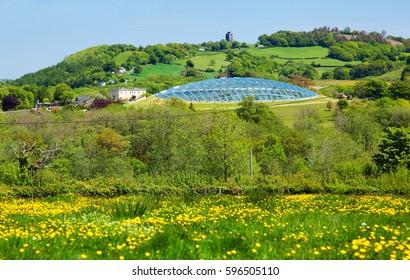 Carmarthenshire, UK, June 4, 2013, Wales.National Botanic garden of Wales. Futuristic Dome set on a Welsh Hillside at Llantharne.