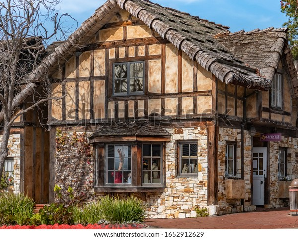 Carmel by the Sea, California - February 16, 2020: Carmel by the Sea is a popular quaint seaside town in Monterey County known for its restaurants and shops, such as this jewelry store downtown.