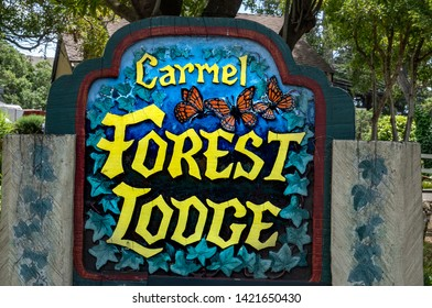 Carmel by the Sea, California - June 9, 2019: The Carmel Forest Lodge is a popular bed and breakfast inn in Carmel by the Sea.