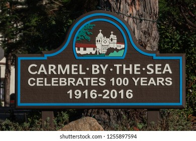 Carmel by the Sea, California - November 30, 2018: A sign  commemorating the cities 100th anniversary is on display on Ocean Blvd.